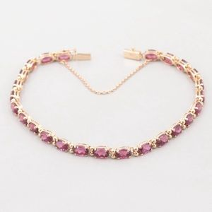 Jewelry - 14K Yellow Gold Rhodolite Bracelet